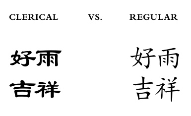 Illustration on Clerical and Regular styles in Chinese caligraphy