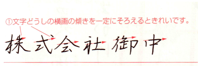 Illustration on horizontal stroke slant in Japanese handwriting