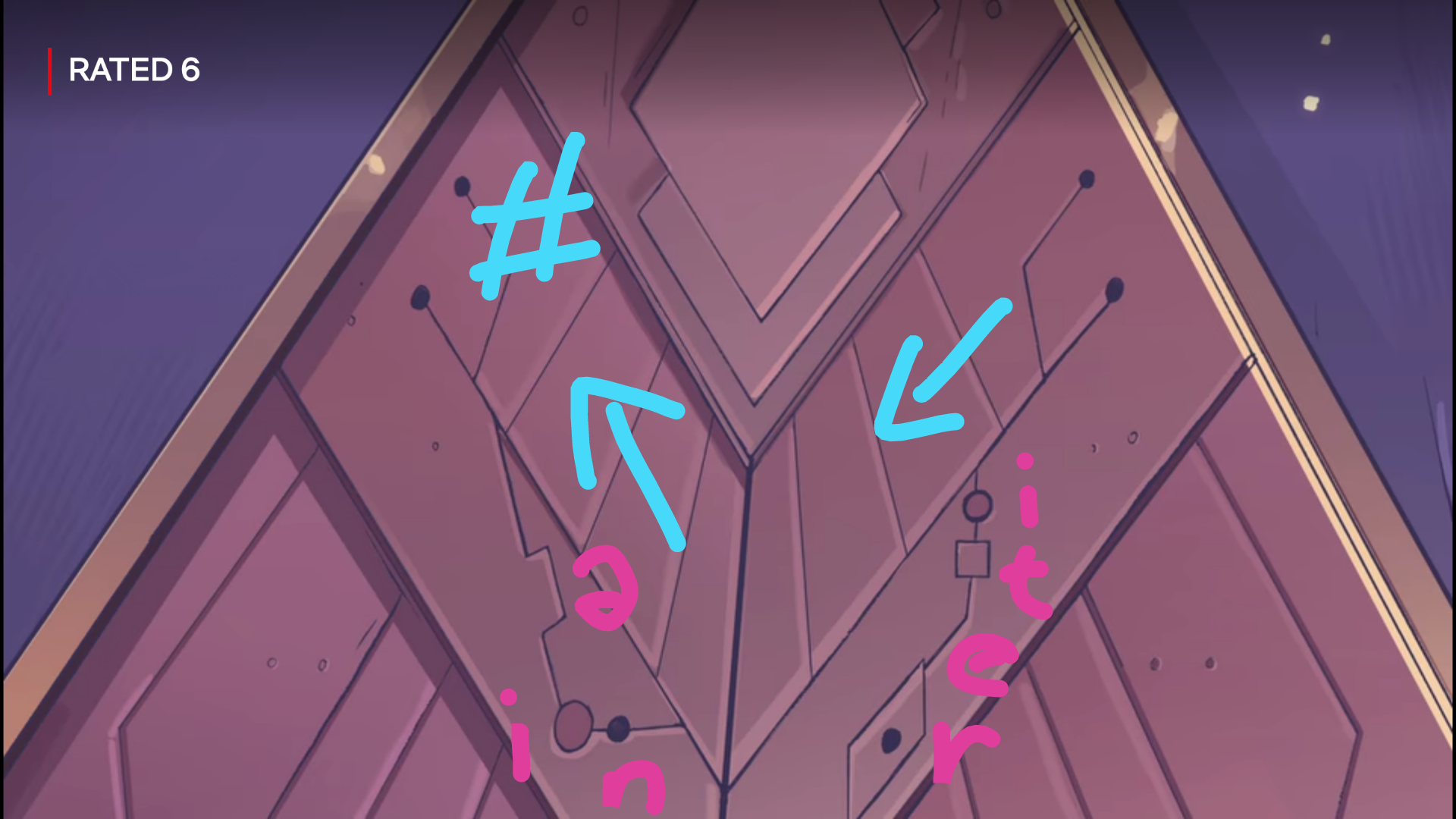 Screenshot of the door from S01E02, its inscription annotated for phonemes.